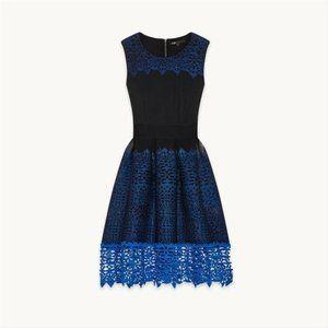 Maje Blue Black En Maille Cocktail Dress